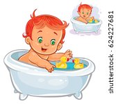 small child take a bath with a... | Shutterstock .eps vector #624227681