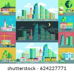 illustration of city life ... | Shutterstock . vector #624227771