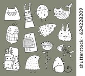 vector set with many different... | Shutterstock .eps vector #624228209