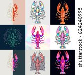 set of lobster logos. abstract... | Shutterstock .eps vector #624240995
