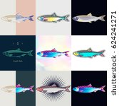 set of herring logos. abstract... | Shutterstock .eps vector #624241271