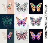 set of butterfly logos.... | Shutterstock .eps vector #624241355