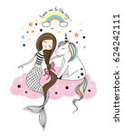 cute little unicorn and... | Shutterstock . vector #624242111