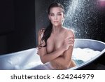 sexy brunette woman posing... | Shutterstock . vector #624244979