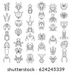 large set of 37 hand drawn... | Shutterstock .eps vector #624245339