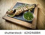 fresh sea bass. mediterranean... | Shutterstock . vector #624246884