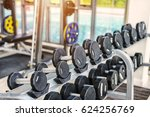 rows of dumbbells and fitness... | Shutterstock . vector #624256769