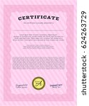 pink diploma. detailed. with... | Shutterstock .eps vector #624263729