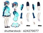 anime super hero. a vector game ... | Shutterstock .eps vector #624270077