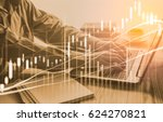 double exposure businessman and ... | Shutterstock . vector #624270821