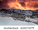 vivid winter sunset in park... | Shutterstock . vector #624271979