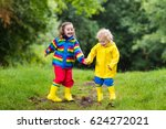 little boy and girl play in... | Shutterstock . vector #624272021