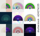 set of peacock logos. abstract... | Shutterstock .eps vector #624276155