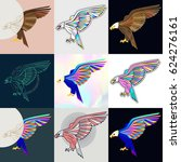 set of eagle logos. abstract... | Shutterstock .eps vector #624276161