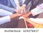 many handshake of young arab... | Shutterstock . vector #624276617
