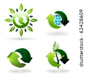 set of green recycling symbols - stock photo