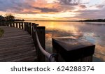 A stroll along the boardwalk on Lake Norman, located very close to Charlotte, North Carolina.  - stock photo