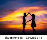 silhouette of happy young... | Shutterstock . vector #624289145
