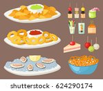 various meat canape snacks... | Shutterstock .eps vector #624290174