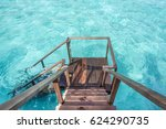 stair down to crystal clear... | Shutterstock . vector #624290735