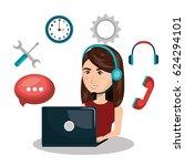 customer service agent working...   Shutterstock .eps vector #624294101