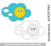 sky cloud and sun to be traced... | Shutterstock .eps vector #624297965