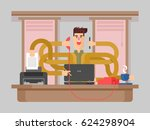 man office worker multitasking | Shutterstock . vector #624298904