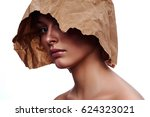 craft paper on head of woman...   Shutterstock . vector #624323021