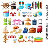 travel and summer holiday icon...   Shutterstock . vector #624328565