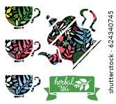 teapot  teacups. flowers ... | Shutterstock .eps vector #624340745