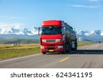 truck drives on road | Shutterstock . vector #624341195