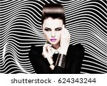 fashion portrait of young... | Shutterstock . vector #624343244