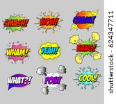 vector comic speach bubble with ... | Shutterstock .eps vector #624347711