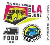 food truck and ice cream truck... | Shutterstock .eps vector #624348407