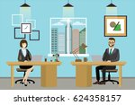 two cartoon office workers. the ... | Shutterstock .eps vector #624358157