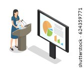 report businesswoman at podium... | Shutterstock .eps vector #624359771