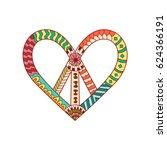 hippie vintage peace symbol in... | Shutterstock .eps vector #624366191