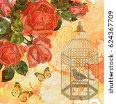 vintage background roses ... | Shutterstock . vector #624367709