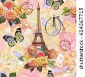 seamless paris travel wallpaper.... | Shutterstock . vector #624367715