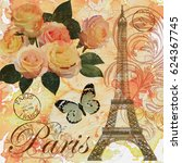 paris vintage postcard. | Shutterstock . vector #624367745