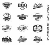 bbq party monochrome badges set ... | Shutterstock .eps vector #624369029
