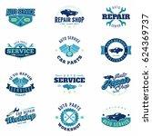 car service colored badges set. ... | Shutterstock .eps vector #624369737