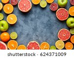 fruits sliced mix frame flat... | Shutterstock . vector #624371009