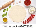 pizza preparation. baking...   Shutterstock . vector #624371261