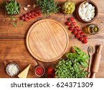 cutting wooden board with... | Shutterstock . vector #624371309