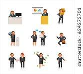 office people pixel character... | Shutterstock .eps vector #624372701