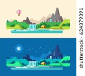 summer landscape  day and night.... | Shutterstock .eps vector #624379391