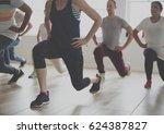 diversity people exercise class ... | Shutterstock . vector #624387827