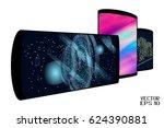set of realistic smartphones... | Shutterstock .eps vector #624390881