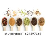 set of spices in wooden spoons... | Shutterstock . vector #624397169